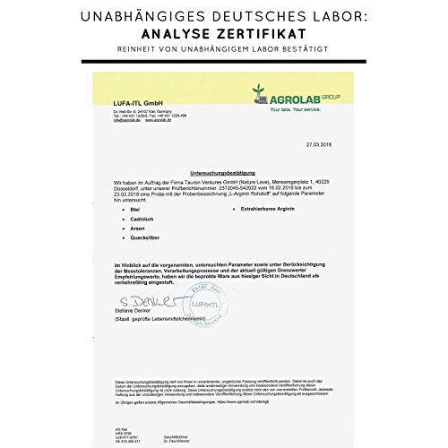 L-Arginin Kapseln - 365 Stück. Hochdosiert mit 4500 mg L-Arginin HCL (entspricht 3750 mg reinem L-Arginin) pro Tagesdosis. Aus pflanzlicher Fermentation. Vegan, hergestellt in Deutschland - 5