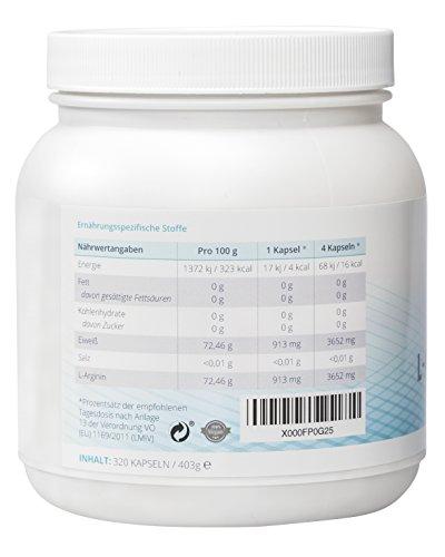 EXVital L-Arginin 4000 hochdosiert, 320 Kapseln in deutscher Premiumqualität, 2-3 Monatskur, semi-essentielle Aminosäuren 1er Pack (1x 403g) - 3