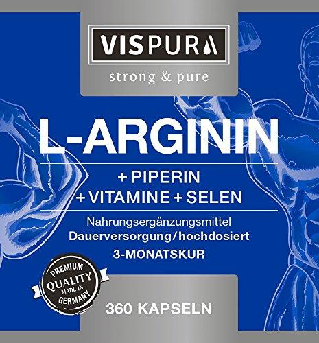 L Arginin Kapseln HOCHDOSIERT 360 Kapseln mit VITAL-Formel B6, B12, Folsäure, Selen und Piperin für 3 Monate, deutsche Premium-Qualität und 30 Tage kostenlose Rücknahme - 5