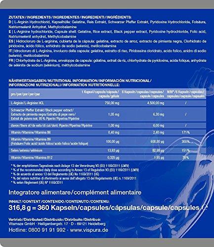 L Arginin Kapseln HOCHDOSIERT 360 Kapseln mit VITAL-Formel B6, B12, Folsäure, Selen und Piperin für 3 Monate, deutsche Premium-Qualität und 30 Tage kostenlose Rücknahme - 6