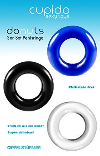 Big Dingeling Donut, 3er Penisring und Cockring Set, verschiedene Farben - 5