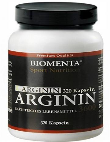 Biomenta L-Arginin hochdosiert - 3600 mg - 320 Kapseln, 2-3 Monatskur - 1