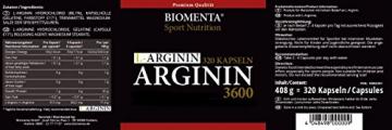 Biomenta L-Arginin hochdosiert - 3600 mg - 320 Kapseln, 2-3 Monatskur - 2