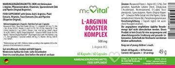 L-Arginin HCL Booster Komplex - schneller Muskelaufbau - Libido - 500 mg - 60 Kapseln -