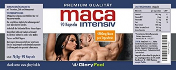 Maca Kapseln Intensiv 4800mg - Hochdosiertes Maca Pulver für aktive Männer und Frauen mit Tribulus, Vitamin B6, B12, Zink und Vitamin C - 90 Kapseln - 4.800 mg Maca im 4:1 Extrakt pro Tagesdosis (3 Kapseln) - Premiumqualität Deutscher Herstellung -